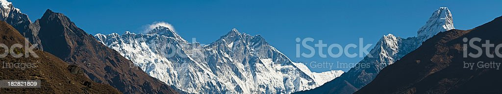 Mt Everest Ama Dablam Nuptse Himalaya mountain peaks panorama Nepal stock photo