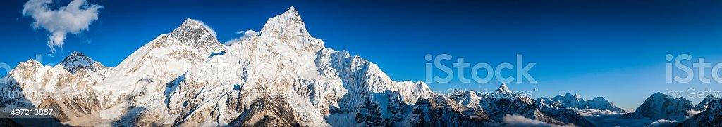 Mt Everest and Nuptse summits overlooking Khumbu peak panorama Himalayas royalty-free stock photo