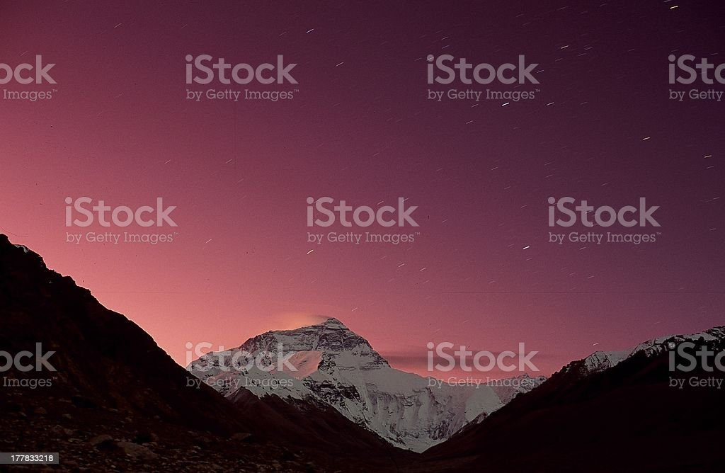 Mt Everest and stars stock photo