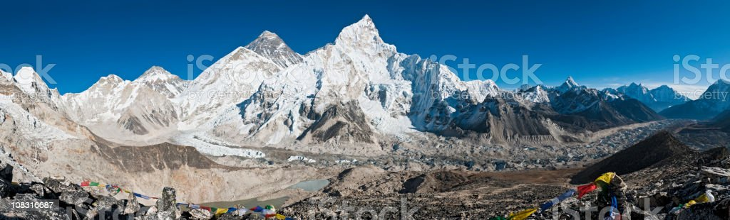 Mt Everest base camp panorama Khumbu glacier Nuptse Himalaya Nepal royalty-free stock photo