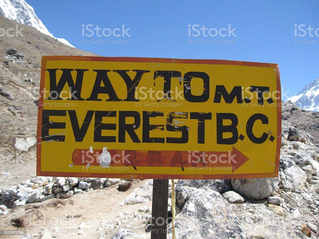 Mt. Everest Base Camp Trek Signpost stock photo