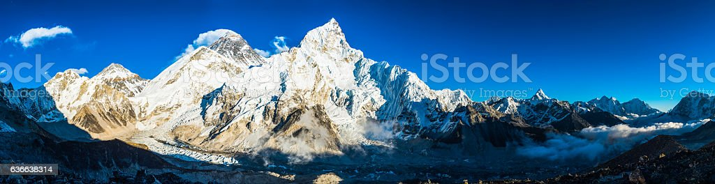 Mt Everest basecamp Khumbu glacier Himalaya mountain peaks panorama Nepal stock photo