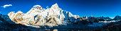 Mt Everest basecamp Khumbu glacier Himalaya mountain peaks panorama Nepal