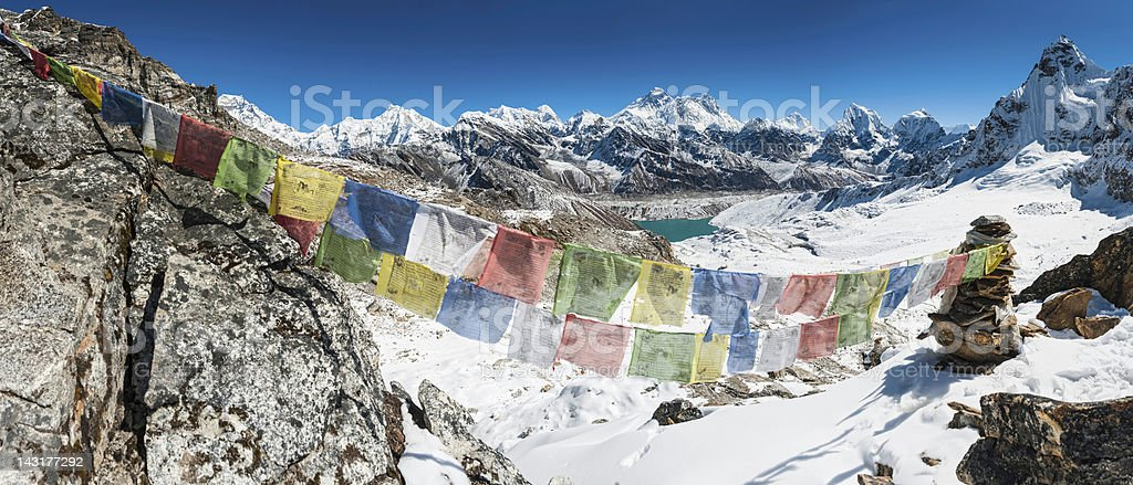 Mt Everest colourful prayer flags Himalaya peaks royalty-free stock photo