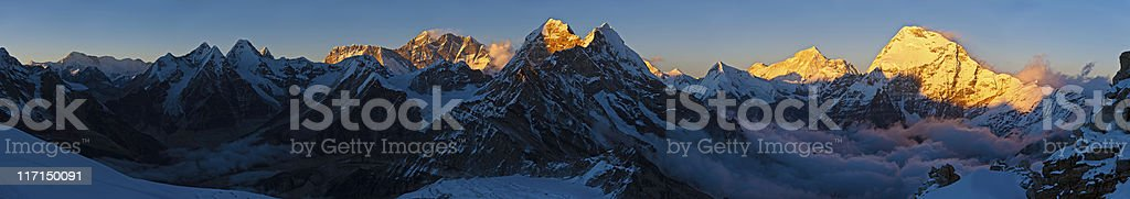 Mt Everest golden summit sunset mountain panorama Himalayas Nepal stock photo