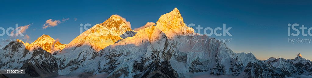 Mt Everest golden sunset Himalaya mountain summit panorama Khumbu Nepal stock photo