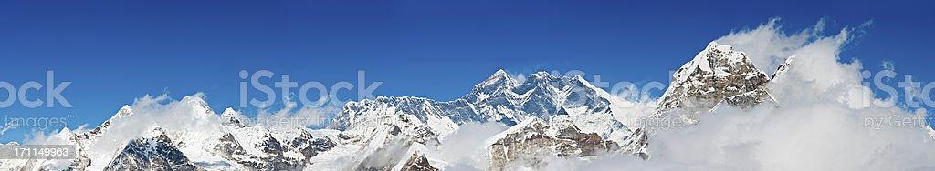 Mt Everest high altitude mountain peaks panorama Khumbu Himalayas Nepal stock photo