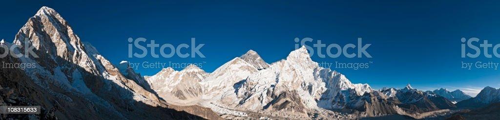 Mt Everest Himalaya summits Khumbu glacier Pumori Nuptse panorama Nepal stock photo