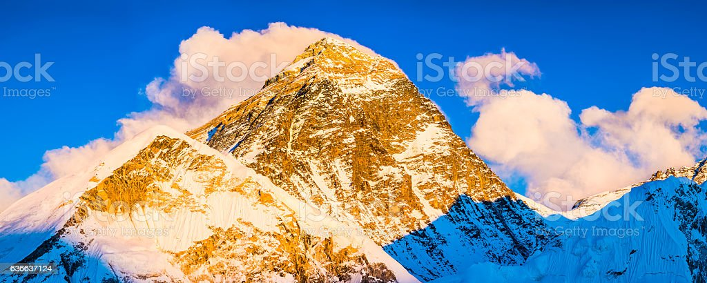 Mt Everest iconic summit South Col illuminated sunset Himalayas Nepal stock photo