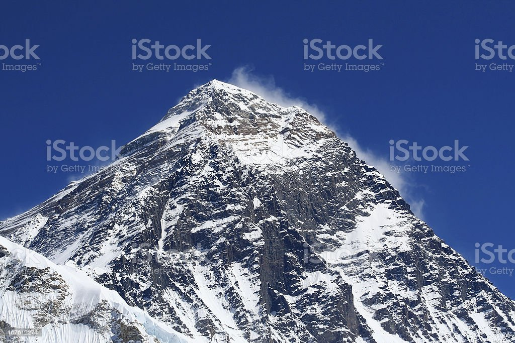 Mt Everest (8850m) in the Himalayas royalty-free stock photo