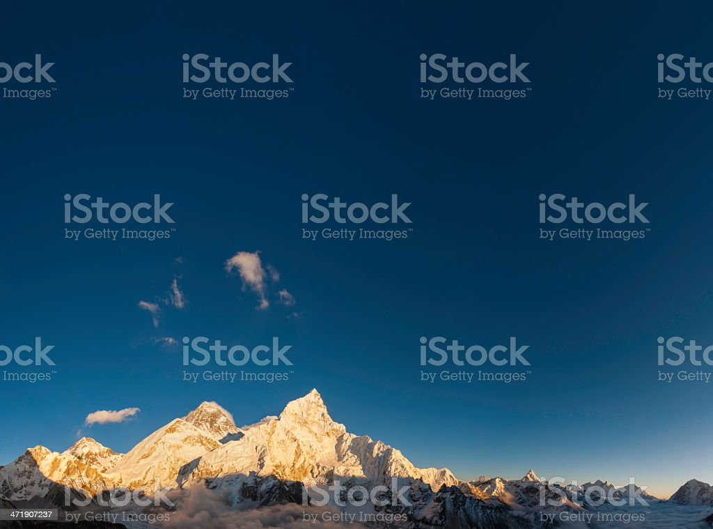 Mt Everest Khumbu valley blue high altitude skies Himalayas Nepal royalty-free stock photo