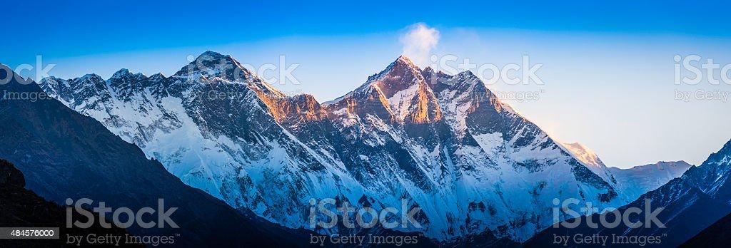 Mt Everest Nuptse Lhotse dawn sunlight panorama Khumbu Himalayas Nepal stock photo