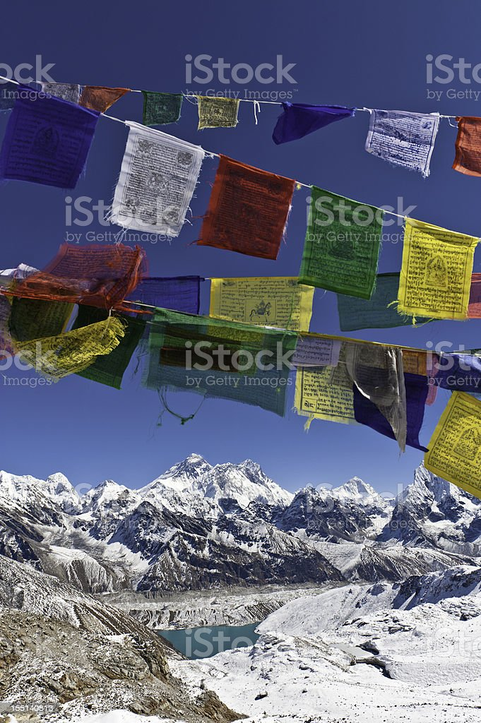 Mt Everest snow mountain summit colorful prayer flags Himalayas Nepal stock photo