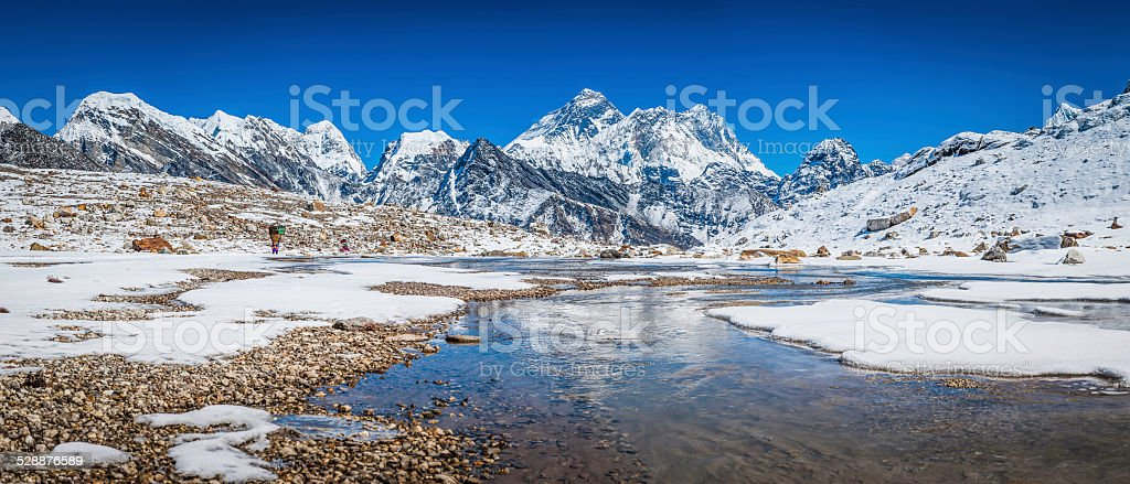 Mt Everest snowy peaks Himalaya mountains reflecting in icy stream stock photo