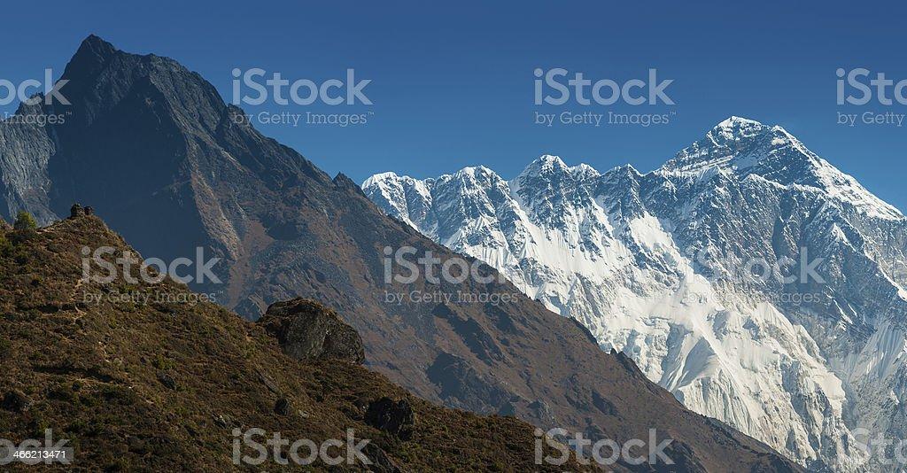 Mt Everest summit high above the Khumbu valley Himalayas Nepal royalty-free stock photo