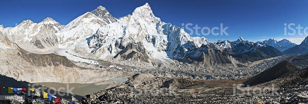 Mt Everest summit Khumbu icefall panorama Himalayas Nepal royalty-free stock photo