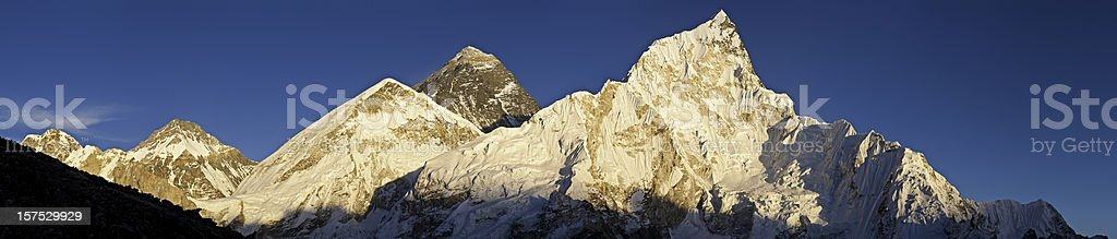 Mt Everest summit Nuptse snow capped peaks Himalaya Nepal panorama royalty-free stock photo