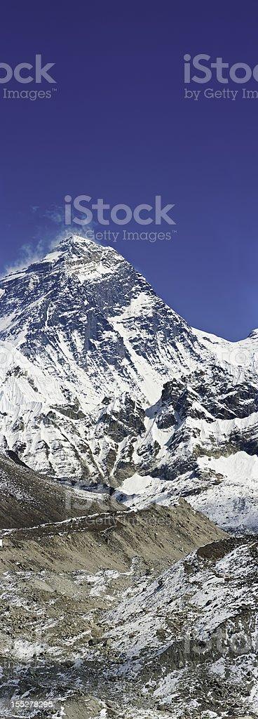 Mt Everest summit vertical panorama Himalayas Nepal royalty-free stock photo