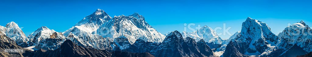 Mt Everest super panorama iconic Himalaya mountain peaks summits Nepal stock photo
