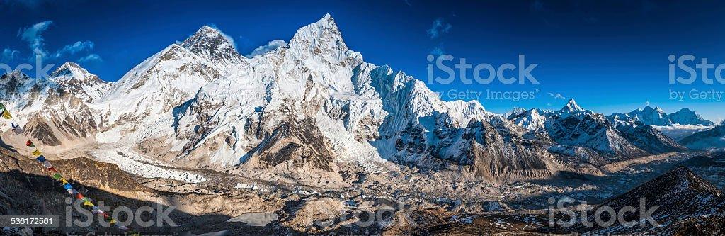 Mt Everest towering over basecamp Khumbu Himalaya mountain peaks panorama stock photo