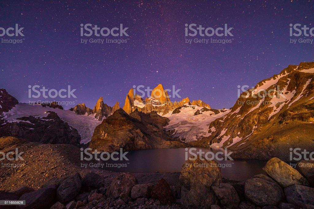 Mt. Fitz Roy & Laguna de los Tres, Patagonia, Argentina stock photo