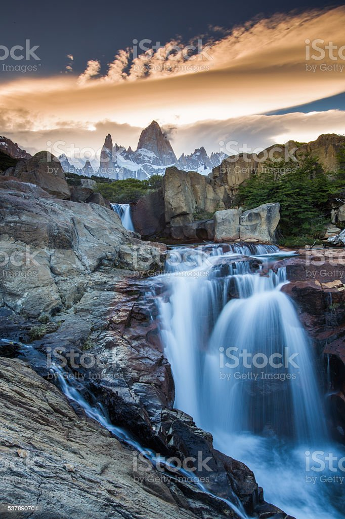 Mt Fitz Roy with a waterfall, Los Glaciares National Park stock photo