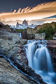 Mt Fitz Roy with a waterfall, Los Glaciares National Park
