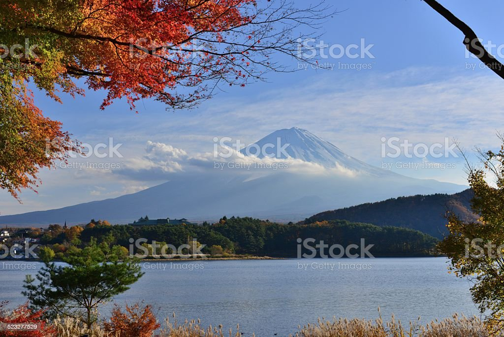 Mt Fuji and Autumn Colors stock photo