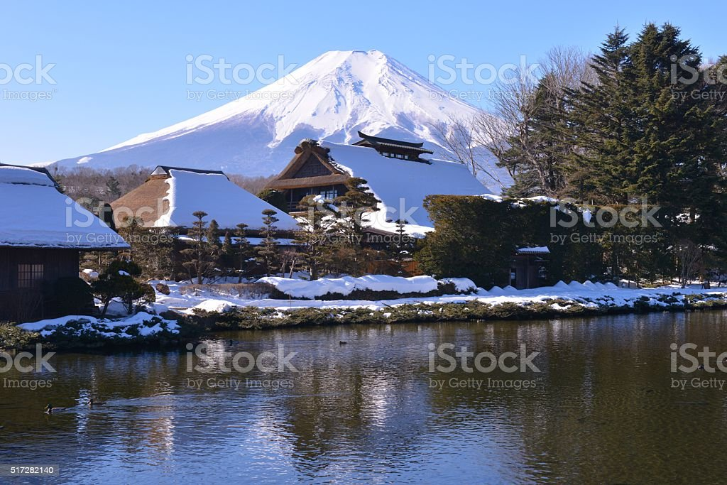 Mt Fuji and Japanese Thatched Roof Houses stock photo