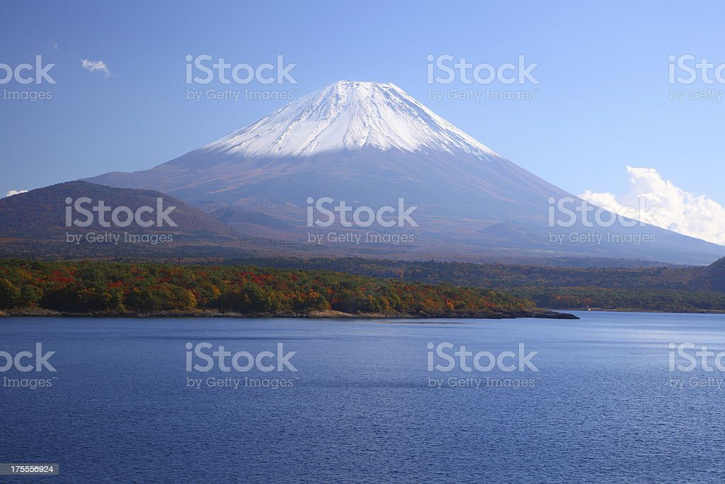 Mt. Fuji and Lake Motosu royalty-free stock photo