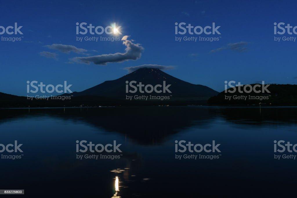 Mt. Fuji and Moon at Daybreak stock photo