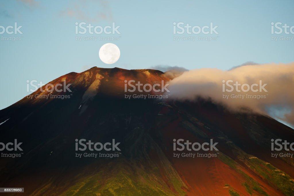 Mt. Fuji and Moon stock photo
