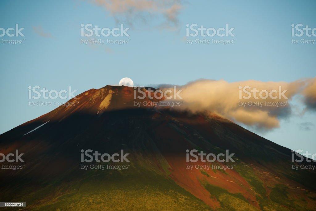 Mt. Fuji and Moonset stock photo