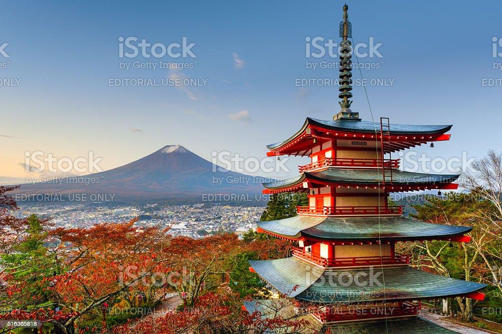 Mt. Fuji and Pagoda stock photo