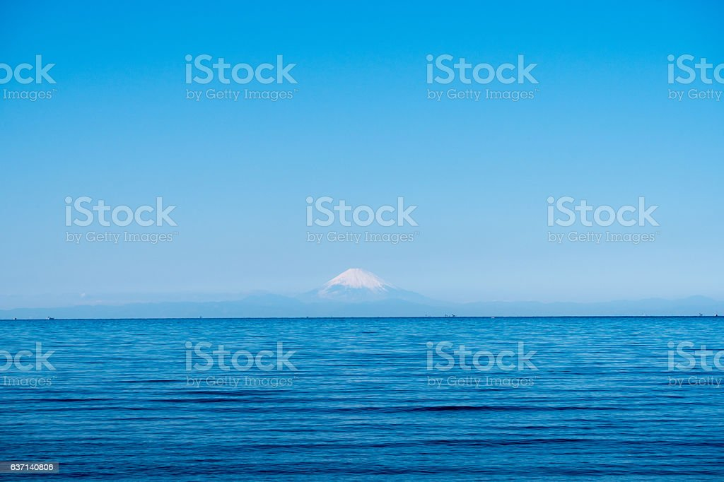 Mt. Fuji and sea from Tateyama, Chiba in winter stock photo