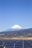 Mt. Fuji and solar panel in Japan