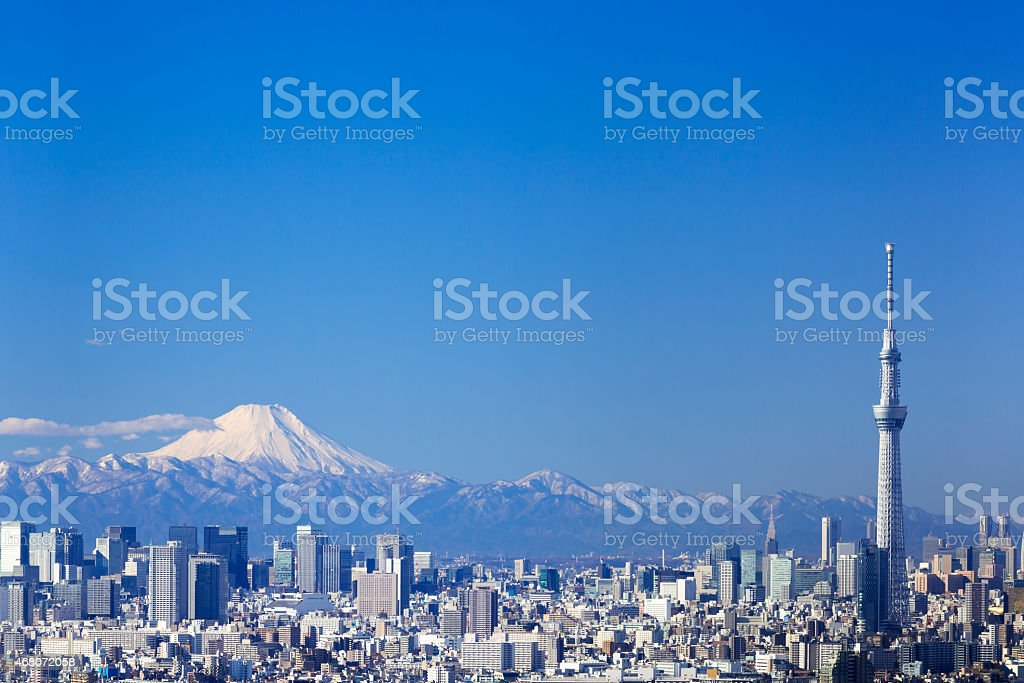 Mt. Fuji and Tokyo sky tree stock photo
