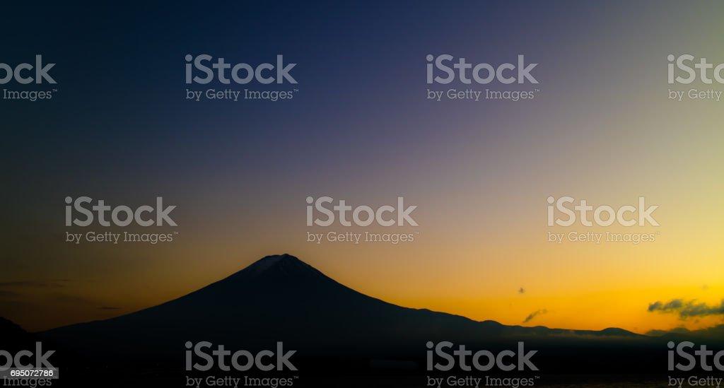 Mt. Fuji Dusk Silhouette stock photo