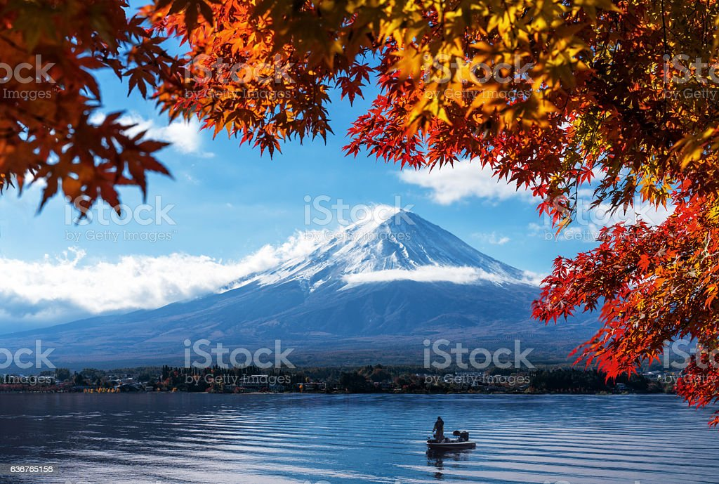 Mt Fuji in autumn view from lake Kawaguchiko stock photo
