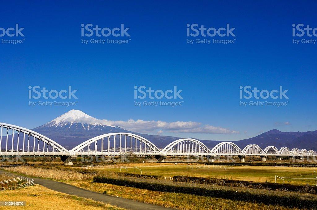 Mt. Fuji in the winter with bridge stock photo