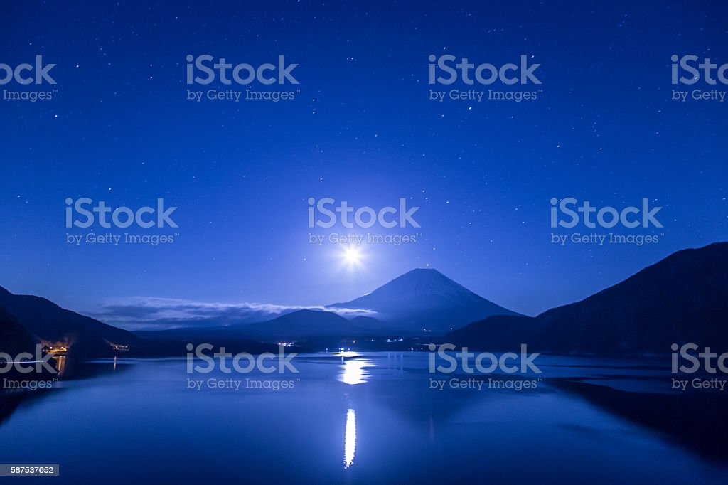 Mt fuji of night view stock photo