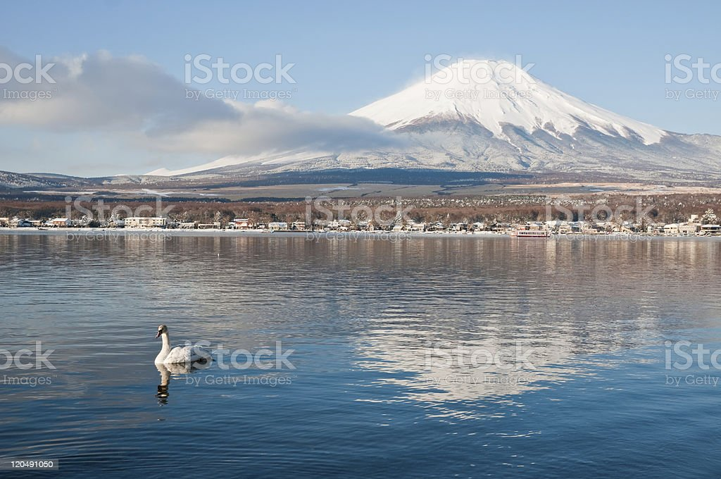 Mt. Fuji over Lake Yamanakako in Yamanashi, Japan royalty-free stock photo