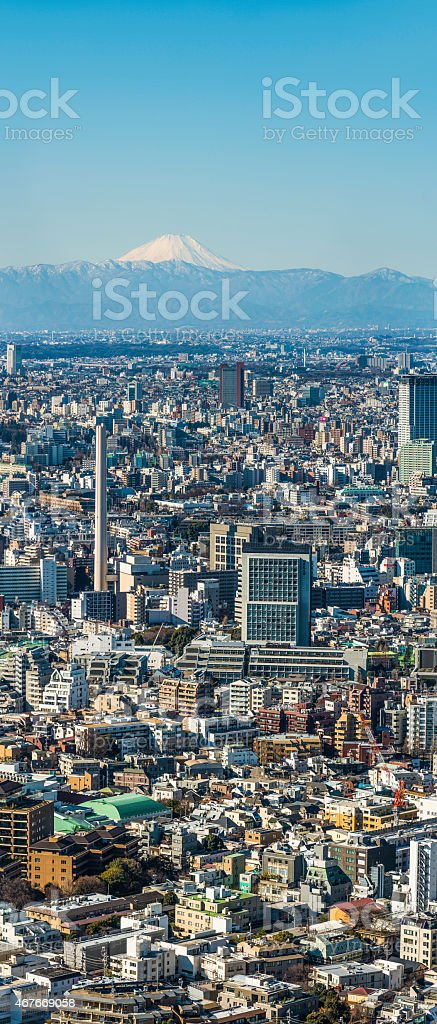 Mt Fuji overlooking central Tokyo crowded cityscape vertical panorama Japan stock photo