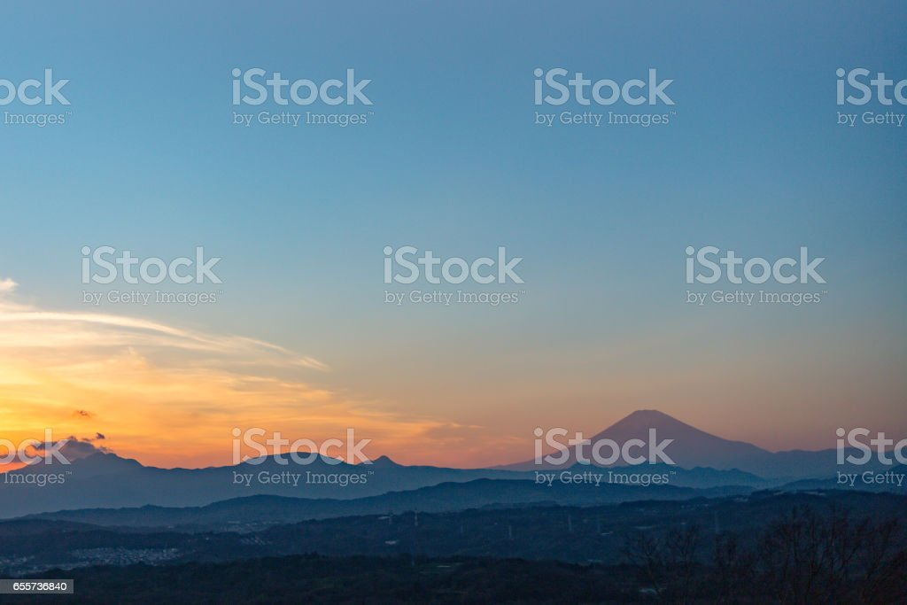 湘南平の日没から眺める富士山 stock photo