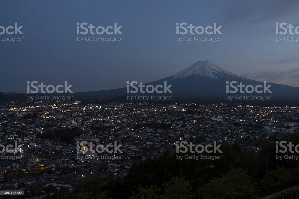 Mt Fuji view in twilight royalty-free stock photo