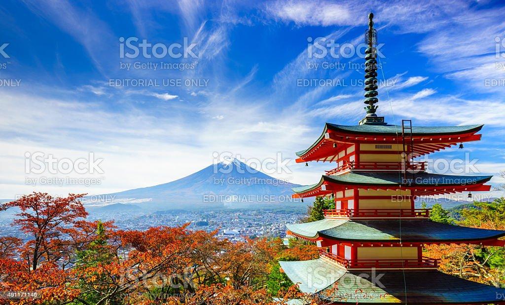 Mt. Fuji with Chureito Pagoda, Fujiyoshida, Japan stock photo