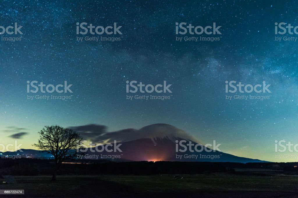 Mt. Fuji with Milky Way Galaxy stock photo