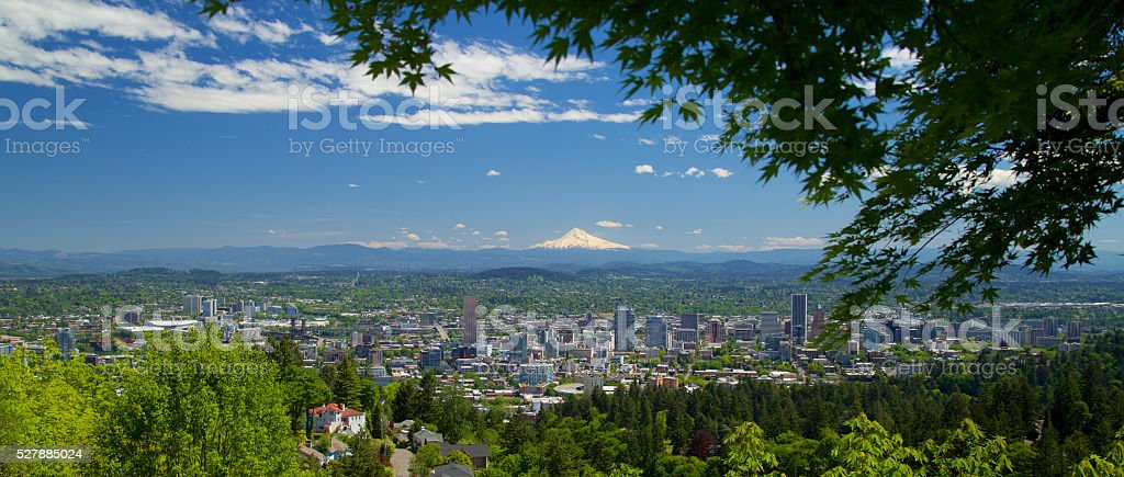 Mt. Hood and Portland, Oregon stock photo