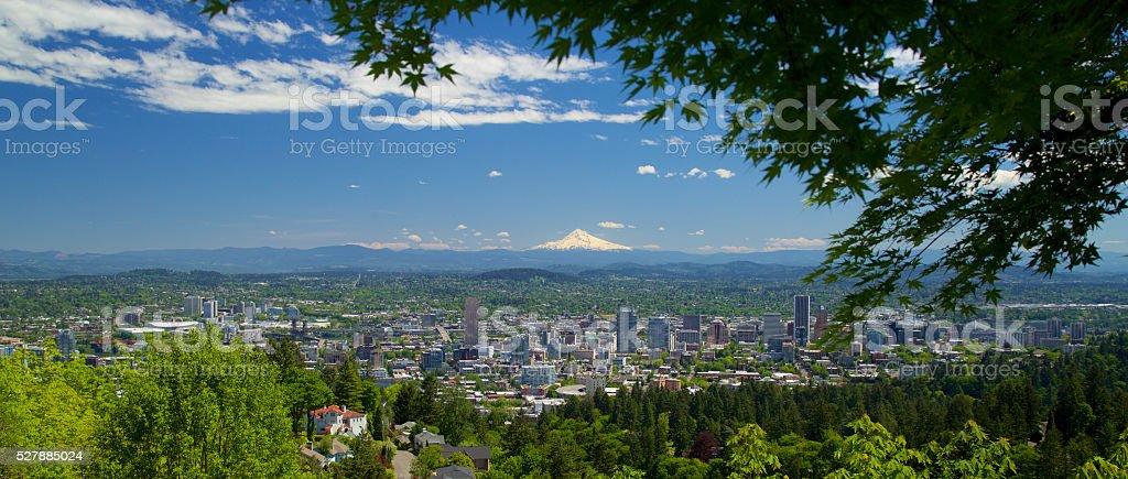 Mt. Hood and Portland, Oregon stock photo