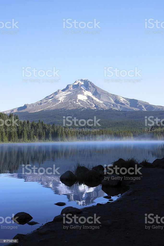 Mt. Hood and Trillium Lake Oregon royalty-free stock photo